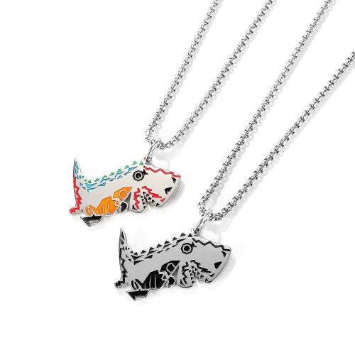 Korean Small Dinosaur Necklace Men's Personality Hip-hop Tide Men's Pendant Titanium Steel Simple Student Jewelry Gb1745.