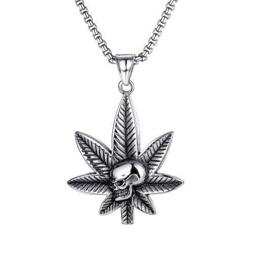 Personality 100 Set Maple Leaf Skeleton Pendant Hip-hop Street Titanium Leaf Necklace Gb1740.