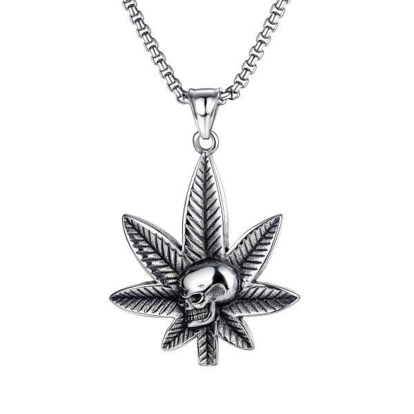 Personality 100 Set Maple Leaf Skeleton Pendant Hip-hop Street Titanium Leaf Necklace Gb1740.