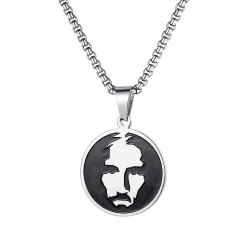 Hip Hop Fashion Necklace Round Portrait Mask Titanium Steel Simple Pendant Men Fashion Retro Jewelry Wholesale GB1747