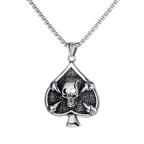 Personality Retro European and American Playing Card Spade Skull Men's Titanium Steel Necklace Gb1741