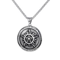 Korean Popular Hip-hop Pentagram Pendant Tide Male Joker Personality Titanium Steel Necklace Accessories Wholesale Gb1743