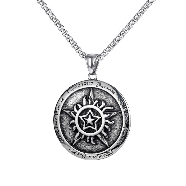 Korean Popular Hip-hop Pentagram Pendant Tide Male Joker Personality Titanium Steel Necklace Accessories Wholesale Gb1743
