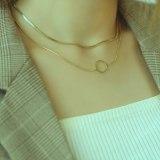 Double Layer Titanium Steel Necklace Women Simple Temperament Neck Chain Minority Collar Chain Jewelry Wholesale GB1708
