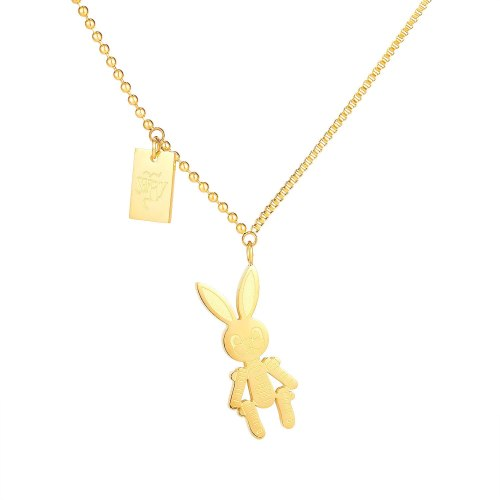 New Korean Version Simple Titanium Steel Necklace Women Plated Rose Gold Rabbit Collarbone Chain Pendant Gb1727.