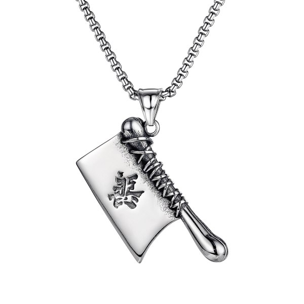 Stainless Steel Necklace Jewelry Korean Hip-hop Rock Personality Trend Kitchen Knife Men's Titanium Steel Necklace Gb1734.