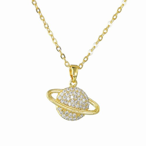 Saturn Necklace Pendant AAA Zircon Inlaid Pendant Fashion All-match Necklace Qxpe1229