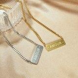 New Simple and Exquisite Square Pendant Ladies Titanium Steel Necklace Jewelry Gb1710