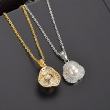 Pearl Necklace AAA Zircon Inlaid Pendant Simple All-match Korean Style Necklace Qxwp133
