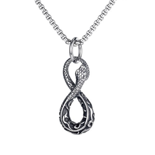 European and American Punk Wind 8-word Viper Pendant Personality Street Men's Titanium Steel Necklace Wholesale Gb1730.