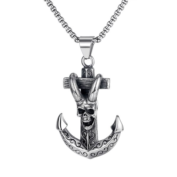 European New Product Retro Ship Anchor Sheep Horn Skeleton Cross Titanium Steel Men Necklace Jewelry Wholesale Gb1738