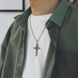 European and American Retro Style Jewelry Simple Twist Cylinder Cross Pendant Men's Titanium Steel Necklace Wholesale Gb1736