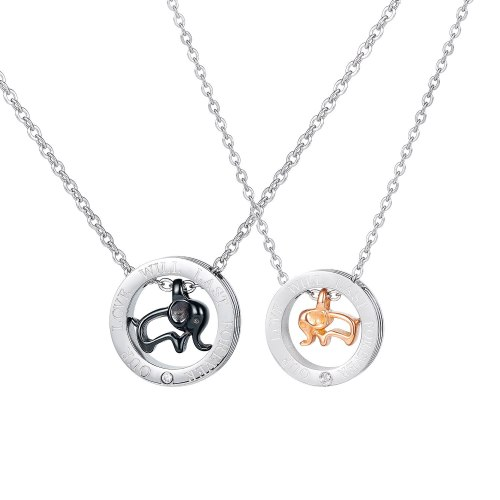 Han Feng Versatile Elephant Lovers Titanium Steel Necklace Personality Trend Men and Women Pendant Gb1729