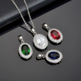 Crystal Zircon Inlaid Necklace Full Zirconium Pendant Fashion All-match Exquisite Pendant Women's Necklace Qx1079