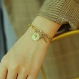 Ins Retro Cross OT Buckle Bracelet Simple Portrait Coin Titanium Steel Bracelet Gb1097
