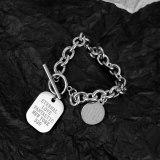 Japanese and Korean New Bracelet Fashion Versatile Square Plate Ot Button Titanium Steel Bracelet Women Wholesale Gb1116
