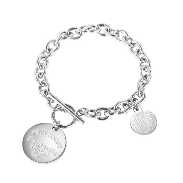 New Style Personalized Bracelet Fashion Love Disc Lady Titanium Steel Bracelet Wholesale Gb1117