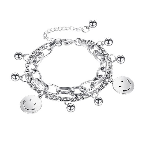 Japanese and Korean Minority Design Smiling Face Ball Double Titanium Steel Bracelet Female Gb1118