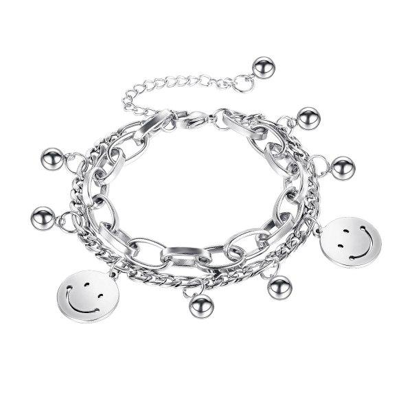 Japanese and Korean Minority Design Smiling Face Ball Double Titanium Steel Bracelet Female Gb1118