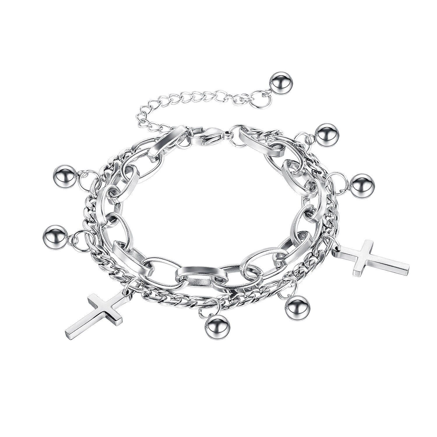 Korea New Products Classic Cross Ball Ball Double-layer Titanium Steel Bracelet Female Honey Jewelry Wholesale Gb1119.