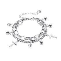 Korea New Products Classic Cross Ball Ball Double-layer Titanium Steel Bracelet Female Honey Jewelry Wholesale Gb1119.