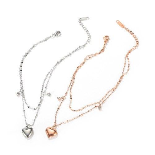 European Simple Fashion Double-layer Love Titanium Steel Bracelet Female Niche Sweet Peach Heart Student Honey String Gb1104.