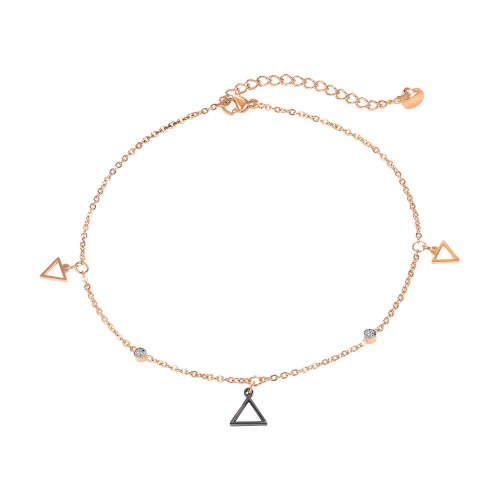 Stainless Steel Anklet Simple Geometry Ins Small Friends Jewelry Korea Hollow Out Triangle Titanium Steel Anklet Gb112
