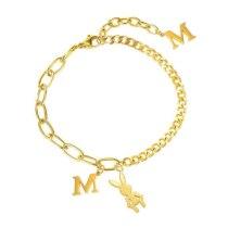 Temperament Luxury Bracelet Ins Niche Design Jewelry Mori Girl Stitching Letter M Rabbit Titanium Steel Bracelet Female Gb1101