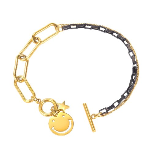 Korean Version Stitching Star Titanium Steel Bracelet Ins Fashion Personality Student Double-layer Smiley Face OT Buckle Gb1100.