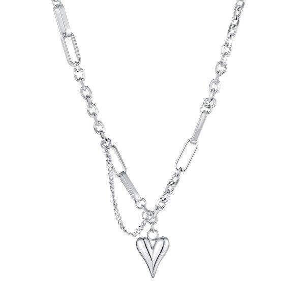 European Titanium Steel Heart Love Necklace Female Ins Personality Collarbone Chain Pendant Niche Design Jewelry Gb1712.