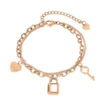 Korean Fashion Light Luxury Smiling Face Key Titanium Bracelet Ins Niche Temperament Jewelry Gb1098