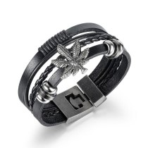 European and American Classic Retro Multilayer Woven Maple Leaf Men's Leather Bracelet Stainless Steel Bracelet Gb1410