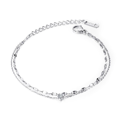 New Japanese and Korean Style Women's Double-layer Titanium Steel Inlaid Diamond Chain Wholesale Foot Accessories Gb110