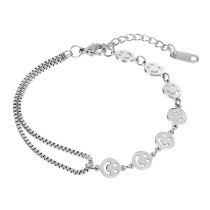 New Classic Hollow Disc Smiley Face Ladies Titanium Steel Bracelet Fashion Joker Jewelry Wholesale Gb1094