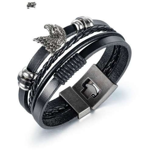 European Stainless Steel Bangles Eagle Head Multilayer Woven Men's Leather Bracelet Jewelry Gb1412