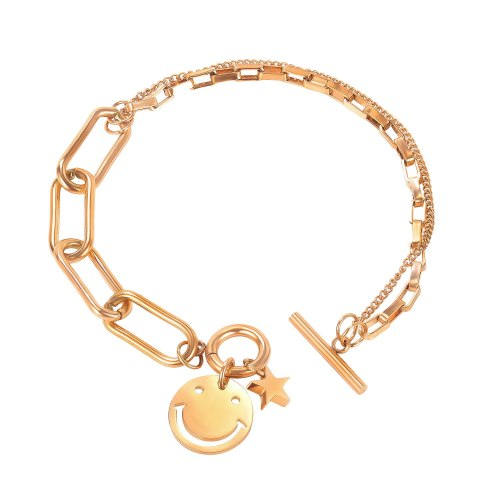 Korean version splice star titanium bracelet ins fashion personality student double face OT button gb1100