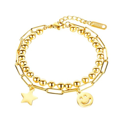 2020 New Bracelet Fashion Titanium Bracelet Female Ins Simple Double-layer Star Smiling Face Bracelet Gb1093