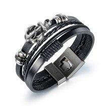 Europe Creative Multi-layer Weaving Leather Anchor Men's Bracelet Fashion Personality Retro Hand Ornaments Wholesale Gb1411