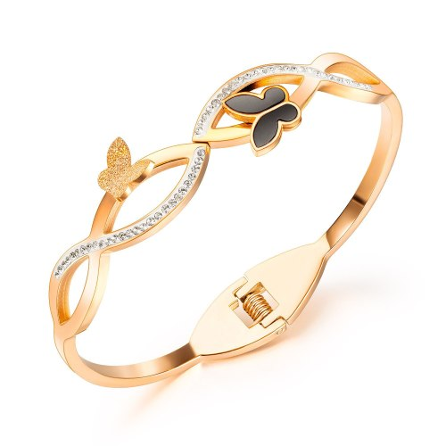 ins Butterfly Titanium Bracelet Women's Minimalist and New Frosted Recharge Ring gb970