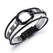 European Style Fashion Simple Fashion Men's Multi-layer Leather Bracelet Gb1398