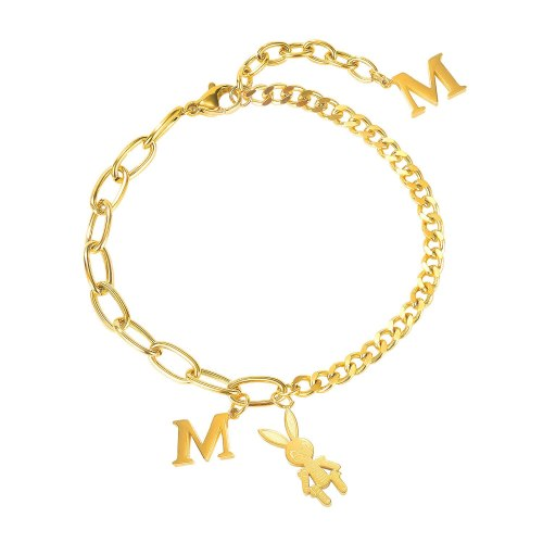 Temperament Light Luxury Bracelet Inssen Series Girl Splicing Letter M Rabbit Titanium Steel Bracelet Female Gb1101