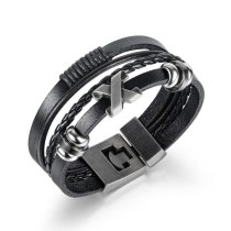 European Classic Men Hand-woven Multi-skin Bracelet Fashion Stainless Steel Bangle Wholesale Gb1414