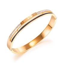 Korea Simple Fashion Titanium Steel Women's Bangles Temperament Versatile Roman Digital Diamond Inlaid Bracelet Gb971
