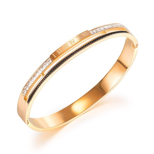 Korea Simple Fashion Titanium Steel Women's Bangles Temperament Versatile Roman Digital Diamond Inlaid Bracelet Gb971