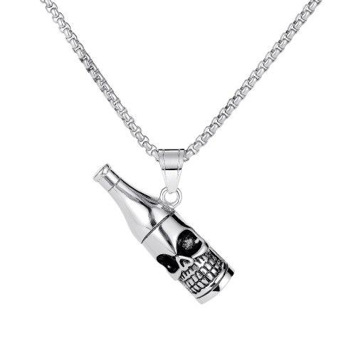 European Personality Necklace Retro Creative Titanium Skeleton Bottle Shape Pendant Street Hipsters Men Necklace Gb1724