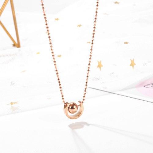 Korean Personalized Creative C-type Beads Pendant Simple Ins Women's Titanium Steel Necklace Jewelry Wholesale GB1715