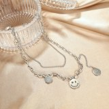 Korea Ins Round Smiling Face Pendant Fashion Personality Double Titanium Steel Necklace Clavicle Chain Sweater Chain Girl Gb1713