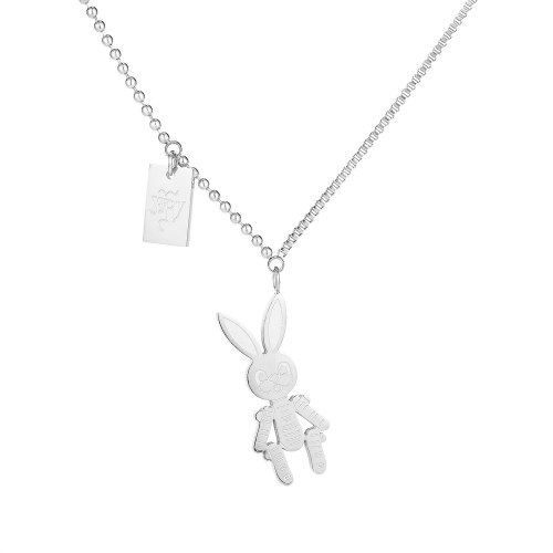 New Korean Net Red Simple Titanium Steel Necklace with Rose Gold Plated Rabbit Clavicle Chain Pendant Gb1727