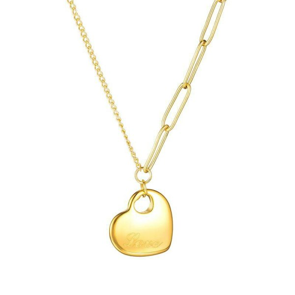 Japanese and Korean Fashion Small Fresh Heart-shaped Collarbone Chain Pendant Simple 100 Temperament Ladies Necklace Gb1707
