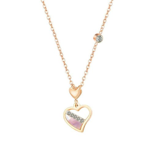 Korean Fashion New Love Mother-of-pearl Necklace Female Titanium Steel Rose Gold Heart Studded Clavicle Chain Pendant Gb1717
